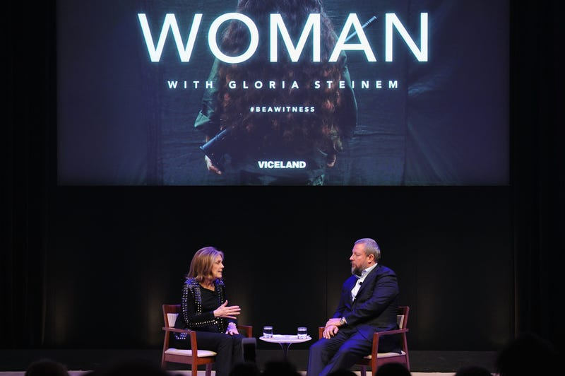 Vice founder Shane Smith in conversation with Gloria Steinem.....Image: Getty