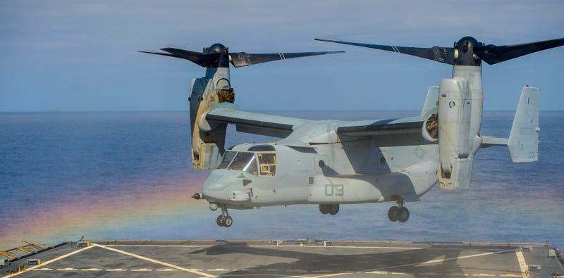 Illustration for article titled Awesome photo of a V-22 Osprey inside a rainbow