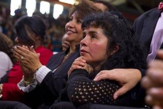 Antonia  Alvarez listens to President Obama's speech on immigration at Del Sol  High School in Las Vegas Friday. The president's appearance followed his  prime-time   speech Thursday night. Steve Marcus/Las Vegas  Sun