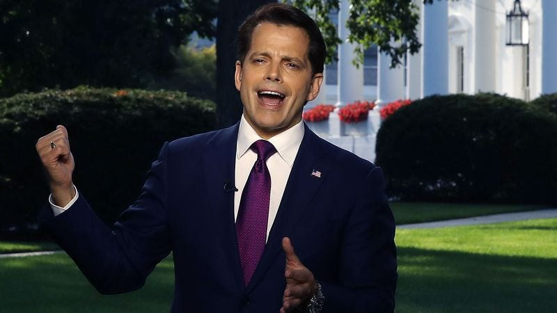 White House communications director Anthony Scaramucci, definitely not making a jerk-off motion. (Photo: Mark Wilson/Getty Images)