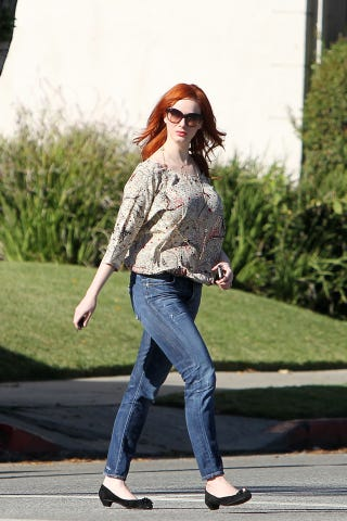 """Illustration for article titled Christina Hendricks Dares You To Say """"Cute Shoes"""""""
