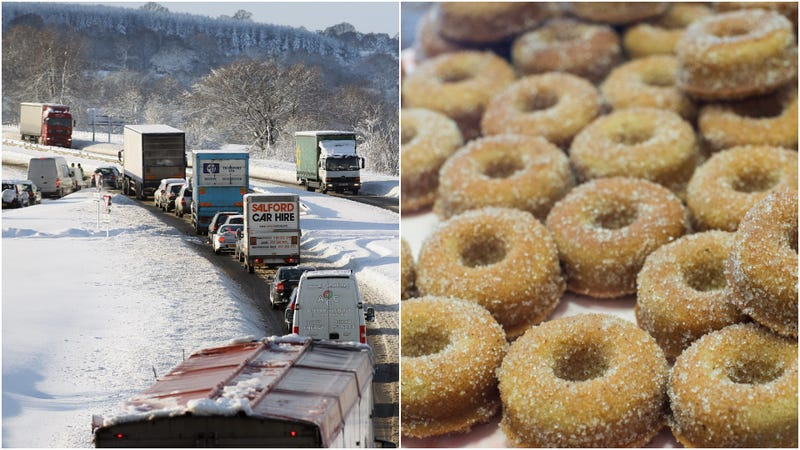 Illustration for article titled Hero bakery truck driver gives away cakes during snowy traffic jam