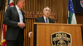 New York City Mayor Bill de Blasio attends his first news conference with police Commissioner William Bratton at One Police Plaza on Jan. 2, 2014, in New York City.Spencer Platt/Getty Images