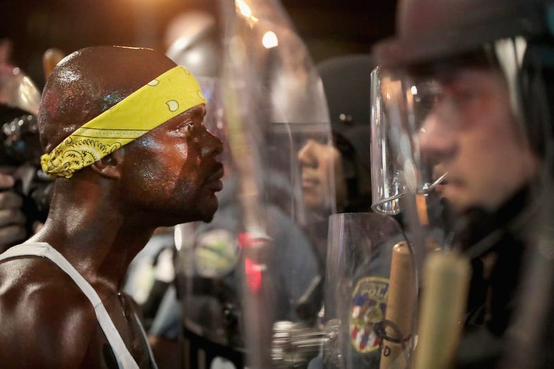 Scene from a second day of protests in St. Louis on Sept. 16, 2017, following the acquittal of former Police Officer Jason Stockley, who was charged with first-degree murder last year following the 2011 on-duty shooting of Anthony Lamar Smith. (Scott Olson/Getty Images)
