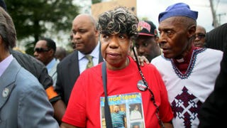 Gwen Carr, the mother of Eric Garner, who died after being put in a choke hold, marches during a rally against police violence Aug. 23, 2014, in the Staten Island borough of New York City.Yana Paskova/Getty Images