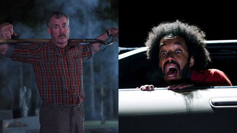 Stan Against Evil (left) and People Of Earth (Photos: Kim Simms/IFC; TBS)