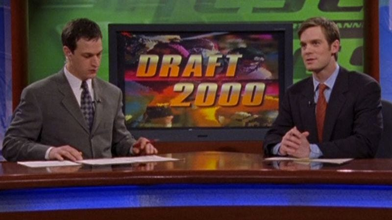 """Illustration for article titled Sports Night: """"Draft Day Part I: It Can't Rain At Indian Wells""""/""""Draft Day Part II: The Fall Of Ryan O'Brian"""""""