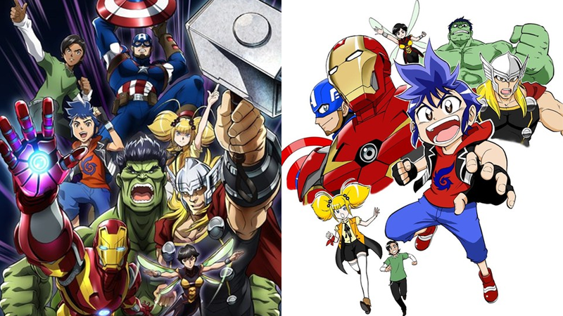 Image: Artwork from the TV and manga versions of Marvel Future Avengers, via Animate Times