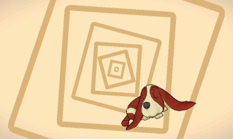 Sherl the dog from Layton's Mystery Journey: Katrielle and the Millionaire's Conspiracy, just before attempting to solve a puzzle.