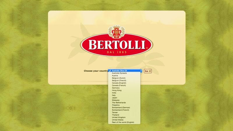 Illustration for article titled Progress: Bertolli Is Finally Recognizing Palestine On Its Homepage's 'Choose Your Country' Drop-Down