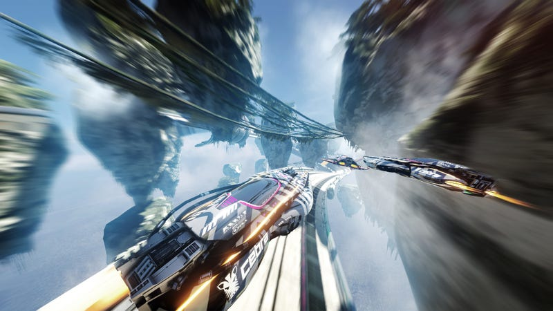 """An image from the game Fast RMX which we are pretending is what """"Space Race"""" will be like. Image: Verge"""