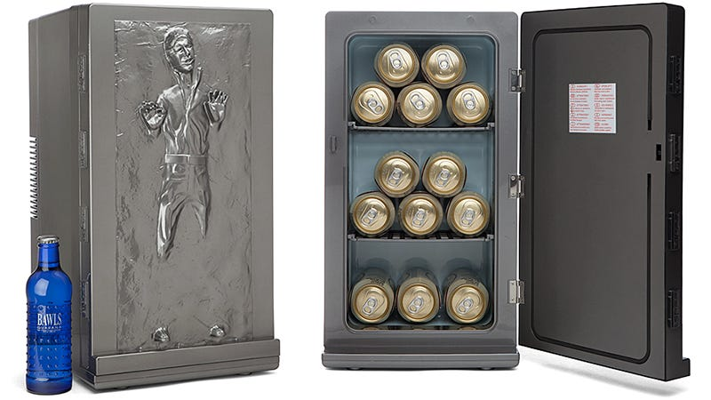 "Illustration for article titled Han Solo Frozen in Carbonite Mini Fridge: ""I'm Thirsty."" ""I Know."""