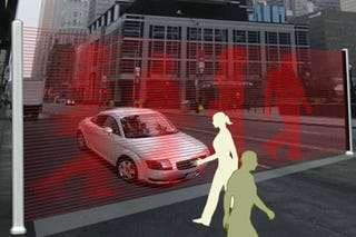 Illustration for article titled Virtual Crosswalk Walls Are Too Futuristic For Our Own Good