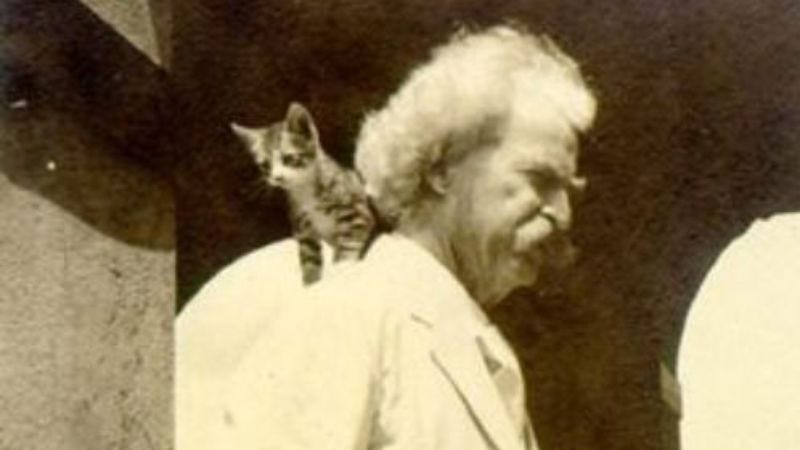 Illustration for article titled Move over, Alison Brie: Here's Mark Twain with a kitten, Kurt Vonnegut with a puppy, and more
