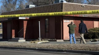 Police tape surrounds the NAACP's Colorado Springs, Colo., chapter after an explosive device was found near the headquarters.KRDO Screenshot