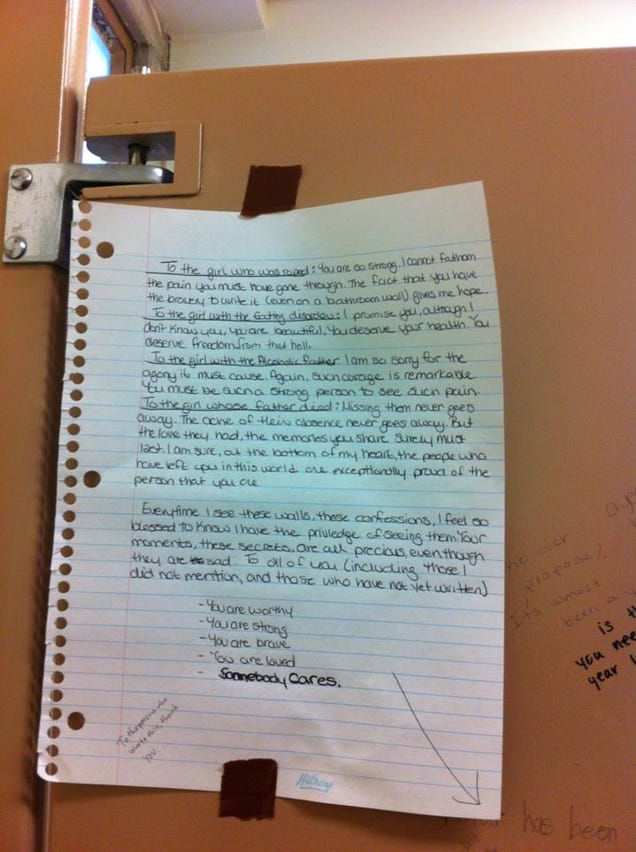 This Wonderful Letter Posted in a Girls' Bathroom Stall ...