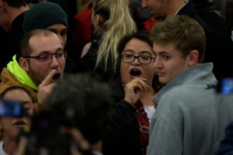 Protesters chant as then-Republican presidential candidate Donald Trump speaks at Hansen Agriculture Student Learning Center at Iowa State University on Jan. 19, 2016, in Ames. Aaron P. Bernstein/Getty Images