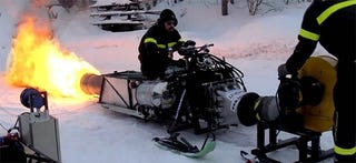 Illustration for article titled Sweeds + Snowmobile + winter + PULSEJET! = The coolest people.