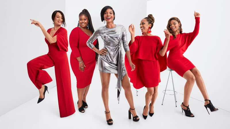 (l-r) Valarie Pettiford, Raven Goodwin, Gabrielle Union, Essence Atkins and Ajiona Alexus in Union's New York and Company winter collection.