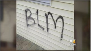 Graffiti painted on the side of Maria and Officer Daniel Daly's homeCBS Boston 4 Screenshot