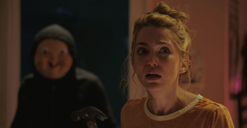 Jessica Rothe is running from a giant baby in Happy Death Day. Image: Universal