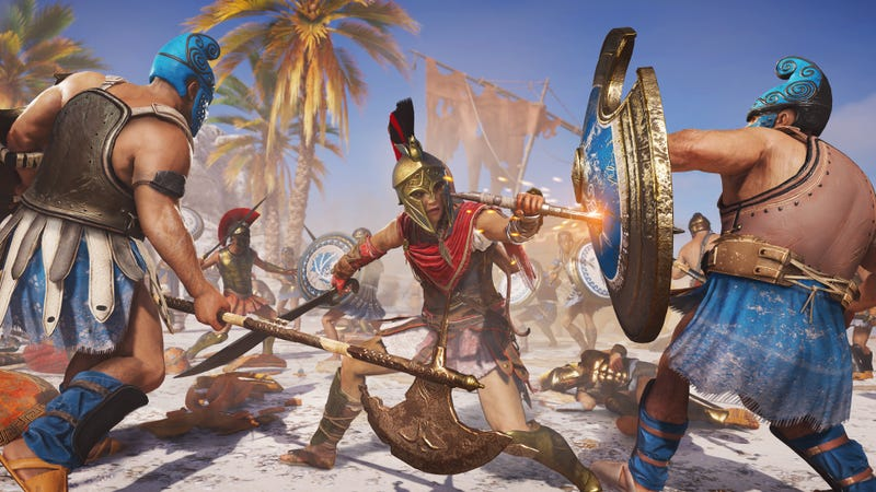 Illustration for article titled Assassin's Creed Odyssey Players Are Creating Custom Quests To Level Up By Doing Nothing