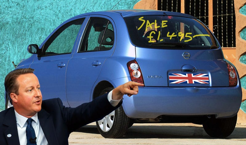 A 2004 Nissan Micra, like the one British Prime Minister David Cameron just bought. (Images via Nissan and AP, edited by the author)