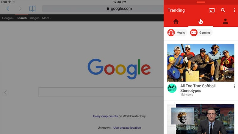 Illustration for article titled YouTube Now Partially Supports Multitasking on iPad