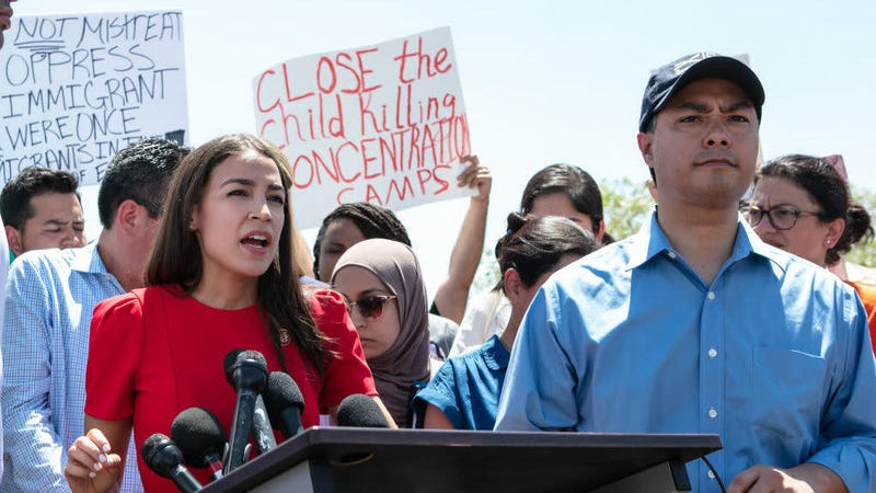 Rep. Alexandria Ocasio-Cortez (D-N.Y.), appearing next to Rep. Joaquin Castro (D-Texas), addresses the media after touring a border patrol facility housing children on July 1, 2019, in Clint, Texas.