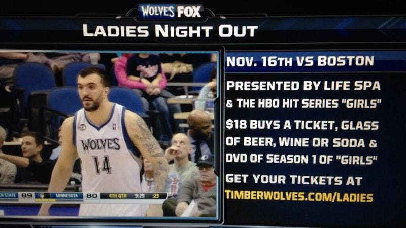 Illustration for article titled The Minnesota Timberwolves are giving away copies of the first season of Girls to women who attend games