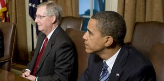 Senate Minority Leader Mitch McConnell and President Obama (Pool/Getty Images)