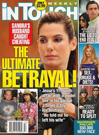 Illustration for article titled This Week In Tabloids: Sandra's Husband Had An Affair; Justin Might Be Cheating On Jessica