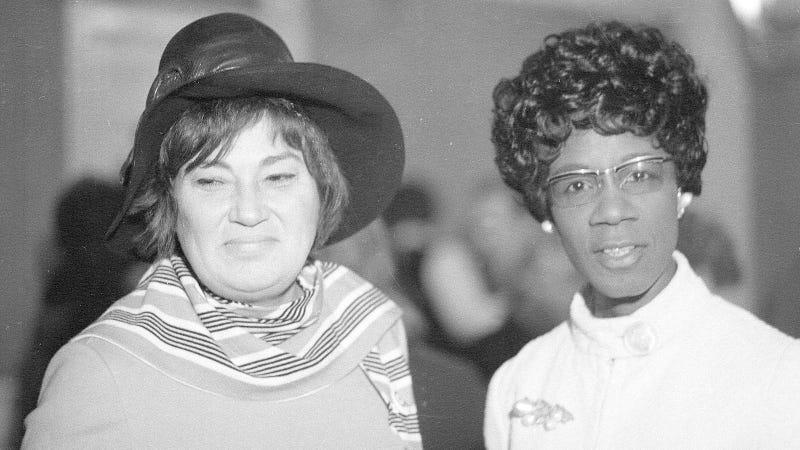Bella Abzug and Shirley Chisholm. Image via AP.