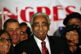 Rep. Charles Rangel speaks after declaring victory in the Democratic primary in New York's 15th Congressional District on June 26, 2012, in New York City. Spencer Platt/Getty Images