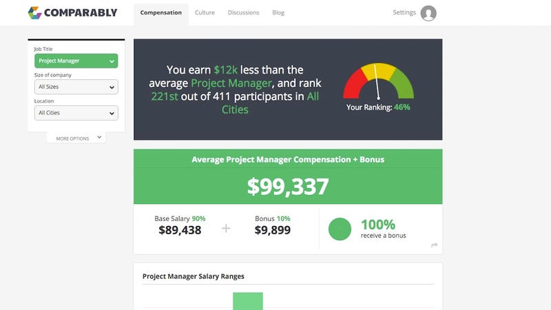 Comparably Compares Your Salary with Other People In Your Field, Anonymously