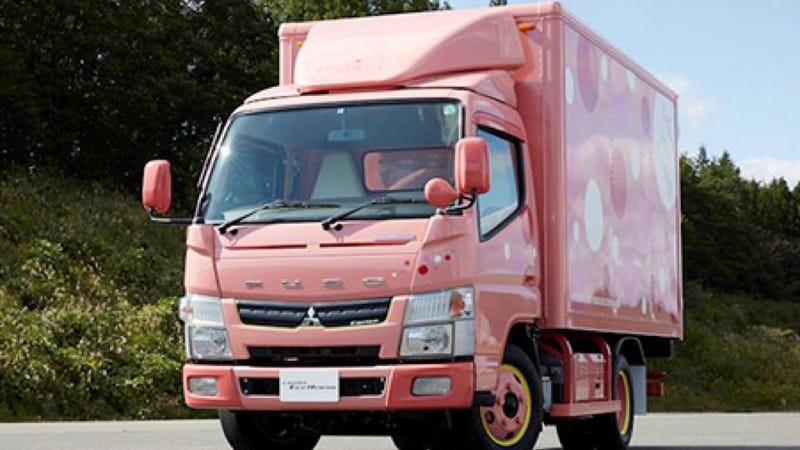Illustration for article titled Awful Pink Mitsubishi Box Truck Designed To Get Women Into Trucking
