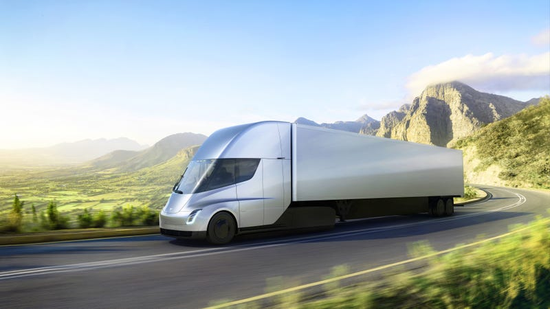 Illustration for article titled The Tesla Semi Truck Will Go 0-60 In 5 Seconds With A Claimed 500-Mile Range