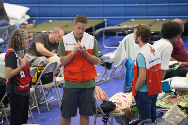 Evacuees and Red Cross volunteers at the Delco Center in East Austin (Photo: Suzanne Cordeiro/Getty Images)
