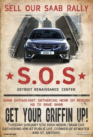 Illustration for article titled S.O.S.: Sell Our Saab Rally Poster!