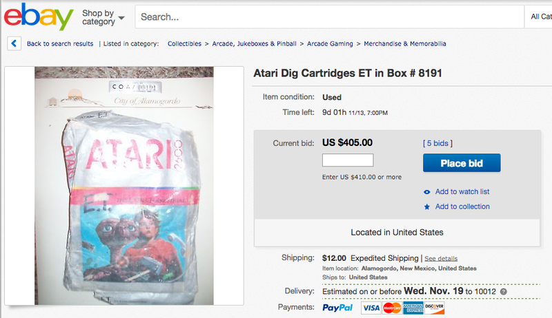 Illustration for article titled You Can Buy a Buried E.T. Atari Cartridge for a Few Hundred Bucks