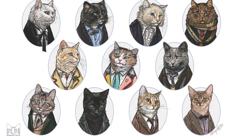 """Illustration for article titled """"Doctor Mew"""" reimagines the eleven Doctors as canny and capricious cats"""