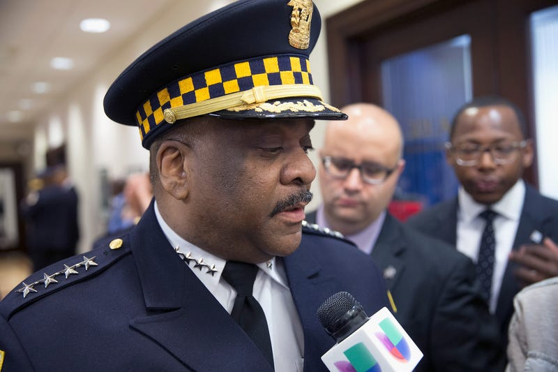 Eddie Johnson speaks to the press after being sworn in as Chicago police superintendent April 13, 2016, in Chicago. Scott Olson/Getty Images