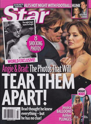 Illustration for article titled This Week In Tabloids: Angelina's Topless, Heroin-Fueled Photos