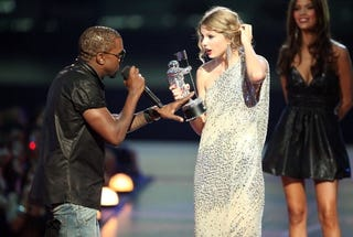 Kanye West interrupting Taylor Swift's moment at the 2009 VMAs