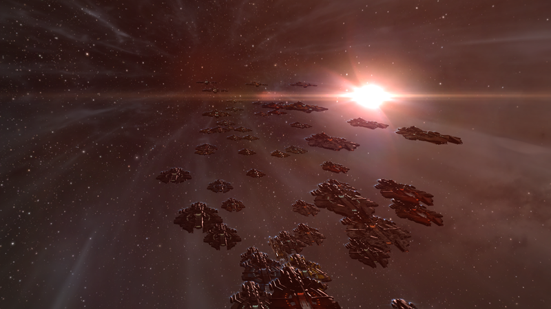 A fleet of supercarriers in mid-warp.