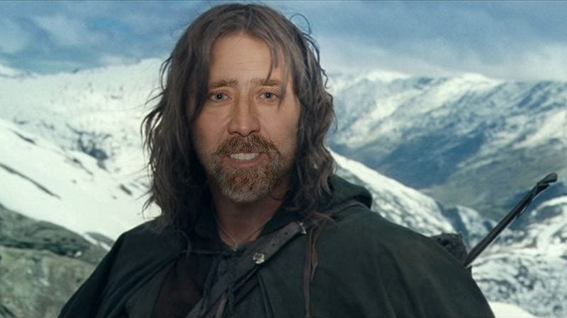 Illustration for article titled Nicolas Cage says he turned down playing Aragorn in Lord Of The Rings