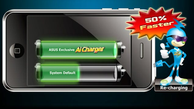 Asus ai charger quickly charges your iphone or ipad over a regular usb