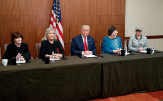 Kathleen Willey, Juanita Broaddrick, GOP presidential nominee Donald Trump, Kathy Shelton and Paula Jones at a news conference Oct. 9, 2016, before Trump's town hall debate with Hillary ClintonFacebook screenshot
