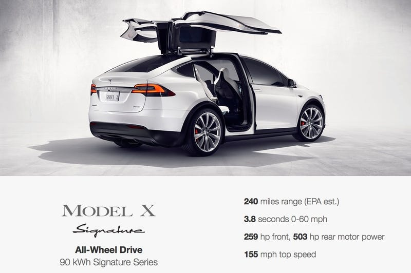 Illustration for article titled The Tesla Model X Does 0 To 60 MPH In 3.3 Seconds, Costs Over $100,000