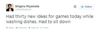 Illustration for article titled Fake Miyamoto Tweets Are Better Than Real Miyamoto Tweets
